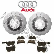 For Audi R8 2014-2015 Set Of 2 Drilled Vented Steel Brake Rotors And Pads Genuine