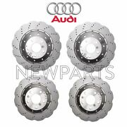 New For Audi Rs5 Front And Rear Vented Drilled Steel Disc Brake Rotors Kit Genuine