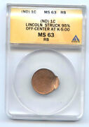 Lincoln Nd Cent 1c Struck 95 Off Center At K-500-anacs Ms63rb-rare-mint Erro