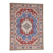 9and0397and039and039x13and0395and039and039 Hand-knotted Denim Blue Super Kazak With Heriz Design Rug R38432