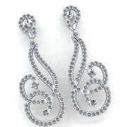 Natural 2ct Round Cut Diamond Ladies Spiral Cross Over Dangle Earrings 18k Gold
