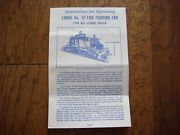 Lionel No. 52 Fire Fighting Car Instruction Sheet
