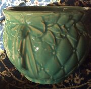 MID CENTURY MCCOY POTTERY TURQUOISE LEAF BERRY DIAMOND QUILTED JARDINIERE Green