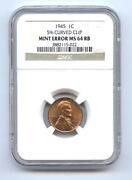 1945 Lincoln Cent 1c Curved Clip-ngc Ms64rb-rare-mint Error-