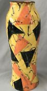 "PAUL KATRICH STUDIO POTTERY 11.5"" VASE #1136 ""SOVEREIGN SKY"" ORANGE YELLOW MINT"
