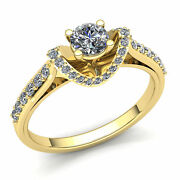 2ct Round Cut Diamond Ladies Curved Gallery Solitaire Engagement Ring 14k Gold