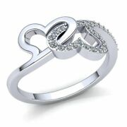 Real 0.75ctw Round Cut Diamond Ladies Heart Promise Anniversary Ring 14k Gold
