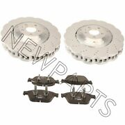 For Audi Rs7 Set Of 2 Vented Drilled Dimpled Disc Brake Rotor And Pads Oem