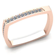 Genuine 0.33ct Round Cut Diamond Mens Square Stackable Wedding Band 14k Gold