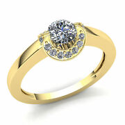 2carat Round Cut Diamond Ladies Curved Halo Solitaire Engagement Ring 14k Gold