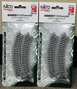 Lot Of 2 - N Scale Kato Unitrack 20-174 Curved Track R150-45 4 Pieces Per Pack