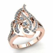 Natural 3ct Round Cut Diamond Ladies Twisted Vintage Engagement Ring 18k Gold