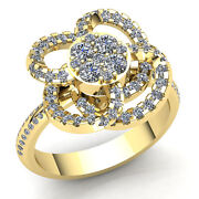 Natural 1.5ct Round Diamond Ladies Cross Over Floral Engagement Ring 18k Gold