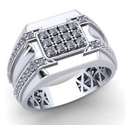 1.5ctw Round Brilliant Cut Diamond Mens Cluster For Him Engagement Ring 18k Gold