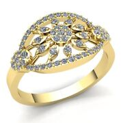 Natural 1.5ct Round Cut Diamond Ladies Cluster Flower Engagement Ring 18k Gold