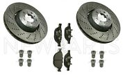 For Bmw E60 E63 Set Of 2 Drilled Vented Brake Rotor+screw Set And Pads Oem/hella