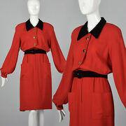 L 1980s Valentino Boutique Long Sleeve Red Dress Button Front Pockets 80s Vtg