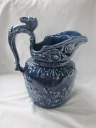 Arthur Wood England Blue Jug Pitcher Embossed Riding Scene Horse Head Handle
