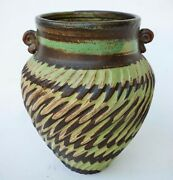 Hand Thrown Studio Pottery Vase w/ Green Brown Swirl Ribbed Glaze - Signed
