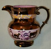 Early 19th C. Copper & Pink Luster Ware Pitcher w/ Putto on Ram Roses Cows Lambs