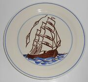 Vernon Kilns Pottery Gale Turnbull Whaling Service Sailing Ship Dinner Plate