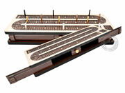 Continuous Cribbage Board Inlaid 4 Tracks Maple/rosewood - Sliding Lids And Drawer