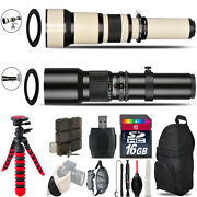 500mm-1300mm Telephoto Lens For Rebel T5 T5i + Flexible Tripod And More - 16gb Kit