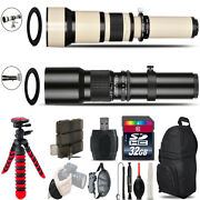 500mm-1300mm Telephoto Lens For Rebel T5 T5i + Flexible Tripod And More - 32gb Kit