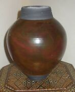 Vintage Iridescent Raku Vase Copper Green Signed by the Artist Dated '93