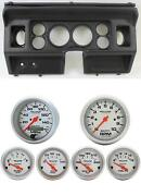 80-86 Ford Truck Black Dash Carrier W/ Auto Meter Ultra-lite Electric Gauges