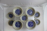 9 Vintage Studio Art Niels Frederiksen Glazed Pottery Bowls Signed Lot (690)