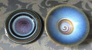 2 Bill Campbell Pottery Candle Or Trinket Plates Excellent Condition Porcelain