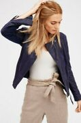 Free People Cool And Clean Moto Jacket Vegan Faux-suede Knit Side Panels Ob418012