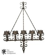Spanish Revival Brutalist 41 Iron Gothic Wall Sconce 5 Light Candle Candelabra