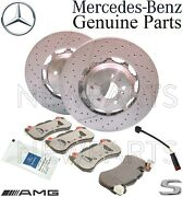 For Mb W222 C217 Front Brake Bad Set And Sensor And Paste And 2 Disc Rotors Kit Oes