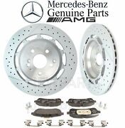 For Mercedes W222 C217 A217 S Amg Rear Brake Pad Set And 2 Disc Rotors Kit Genuine