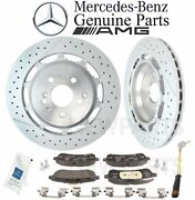For Mercedes W222 C217 Rear Brake Pad Set And Sensor Paste And 2 Disc Rotors Kit Oes