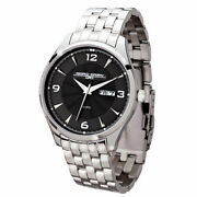 Jorg Gray Jg1760-16 Black Dial Stainless Steel Band Menand039s Watch Msrp 295