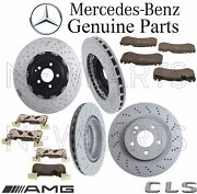 For Mercedes W219 Cls63 Amg Front And Rear Brake Pad Sets And 2 Disc Rotors Kit
