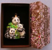 Jay Strongwater Mother And Baby Pandas Christmas Ornament Elements New