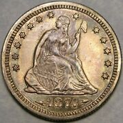 1874 S Liberty Seated Silver Quarter High Quality Very Appealin Beautiful Toning