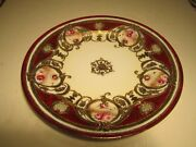 """Very Pretty Vintage Nippon Red & Heavy Gold W/ Pink Roses Decorated 9.75"""" Plate"""