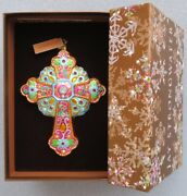 Jay Strongwater Turquoise Cross Glass Ornament W Elements New In Box
