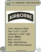 10 Airborne Black/white Tab Patches - Abp15 X 10