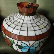 Vintage Style Leaded Stained Glass Lamp Shades Ceiling Fixtures Six Lot