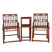Chinese Antique Southern Official's Hat Armchairs Set