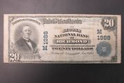 Large Size National Bank Note 1902 20 2nd Nb Richmond Indiana Ch1988 F+ [a]