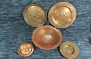 Vintage Lot Of 5 Chile Copper Plates And Bowl, Hammered Copper, Etc.