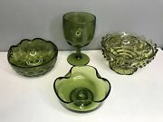 Lot Of 4 Vintage Green Glass Vases Candle Holders Bowls Dishes Wedding Decor