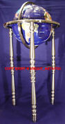 37 Tall Floor Stand Blue Lapis Gemstone World Globe With Straight Silver Tripod